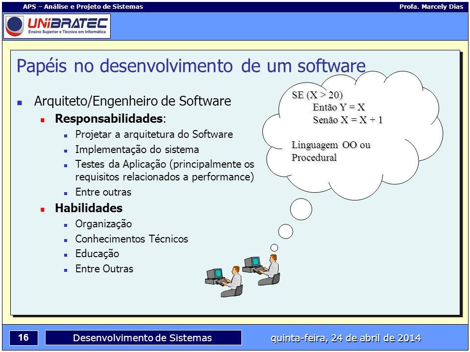 16 APS – Análise e Projeto de Sistemas Profa. Marcely Dias Desenvolvimento de Sistemas quinta-feira, 24 de abril de 2014 Arquiteto/Engenheiro de Softw