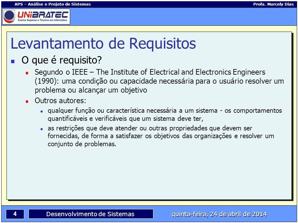 4 APS – Análise e Projeto de Sistemas Profa. Marcely Dias Desenvolvimento de Sistemas quinta-feira, 24 de abril de 2014 Levantamento de Requisitos O q