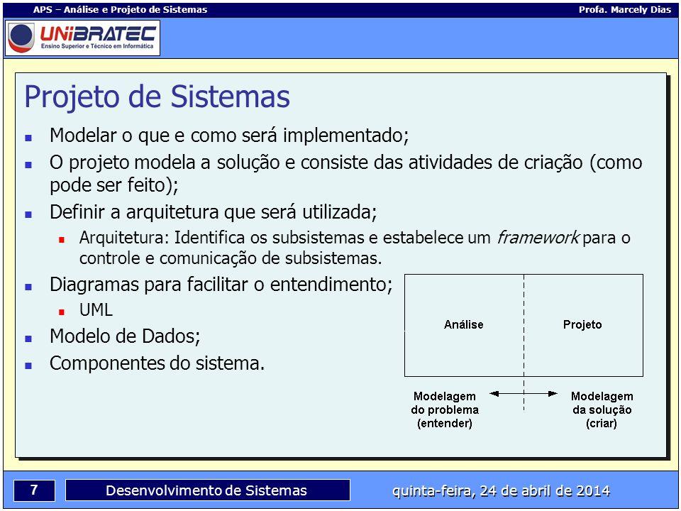 7 APS – Análise e Projeto de Sistemas Profa. Marcely Dias Desenvolvimento de Sistemas quinta-feira, 24 de abril de 2014 Projeto de Sistemas Modelar o