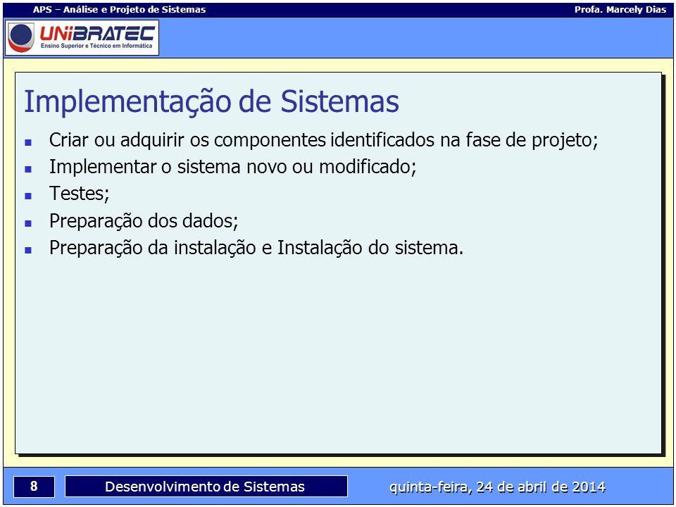 8 APS – Análise e Projeto de Sistemas Profa. Marcely Dias Desenvolvimento de Sistemas quinta-feira, 24 de abril de 2014 Implementação de Sistemas Cria