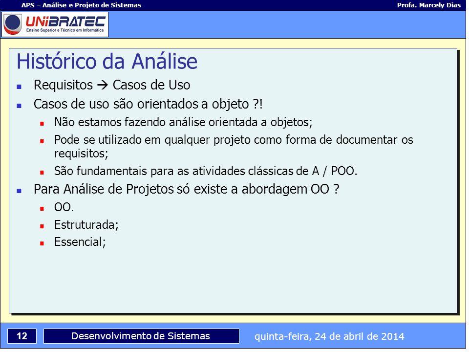 quinta-feira, 24 de abril de 2014 12 APS – Análise e Projeto de Sistemas Profa. Marcely Dias Desenvolvimento de Sistemas Histórico da Análise Requisit