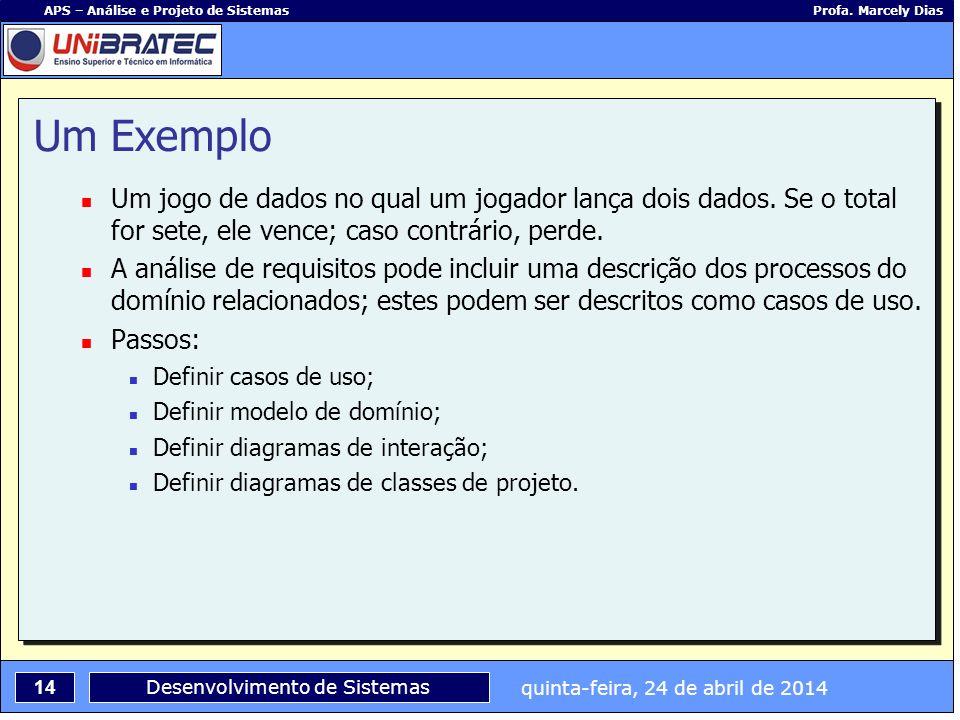 quinta-feira, 24 de abril de 2014 14 APS – Análise e Projeto de Sistemas Profa. Marcely Dias Desenvolvimento de Sistemas Um Exemplo Um jogo de dados n