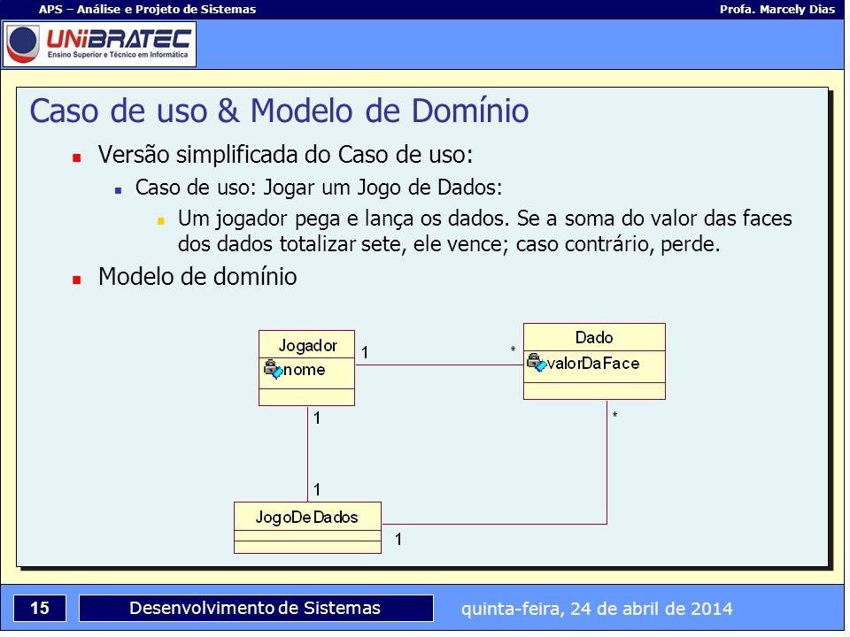 quinta-feira, 24 de abril de 2014 15 APS – Análise e Projeto de Sistemas Profa. Marcely Dias Desenvolvimento de Sistemas Caso de uso & Modelo de Domín