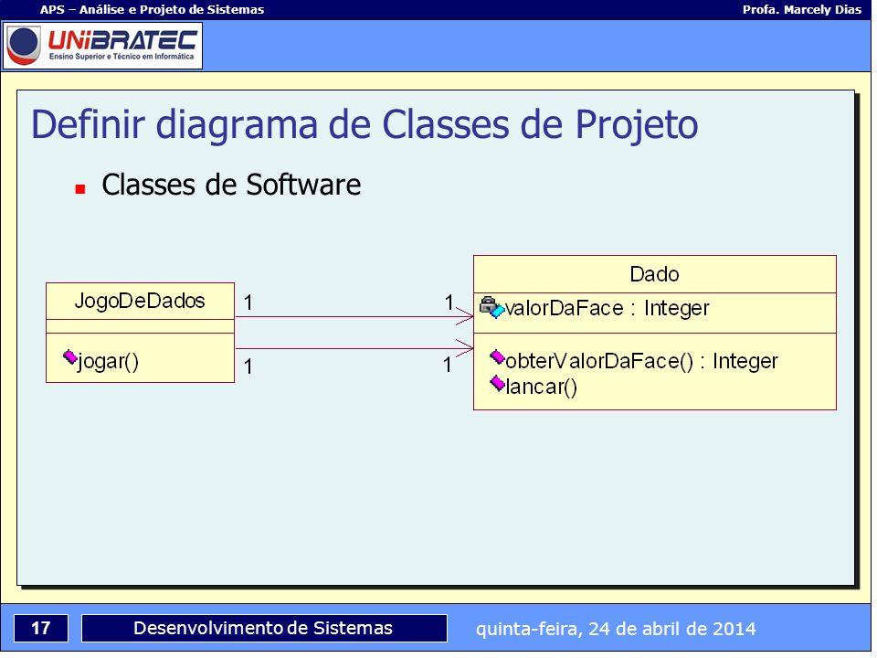 quinta-feira, 24 de abril de 2014 17 APS – Análise e Projeto de Sistemas Profa. Marcely Dias Desenvolvimento de Sistemas Definir diagrama de Classes d