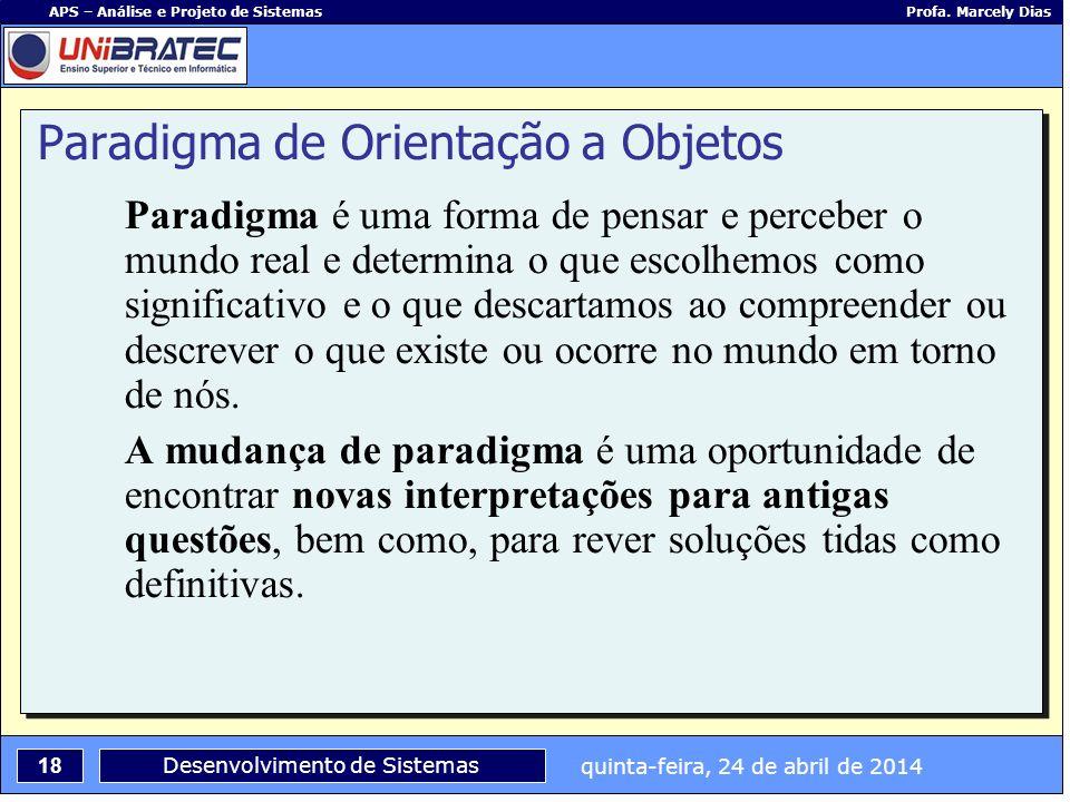quinta-feira, 24 de abril de 2014 18 APS – Análise e Projeto de Sistemas Profa. Marcely Dias Desenvolvimento de Sistemas Paradigma de Orientação a Obj