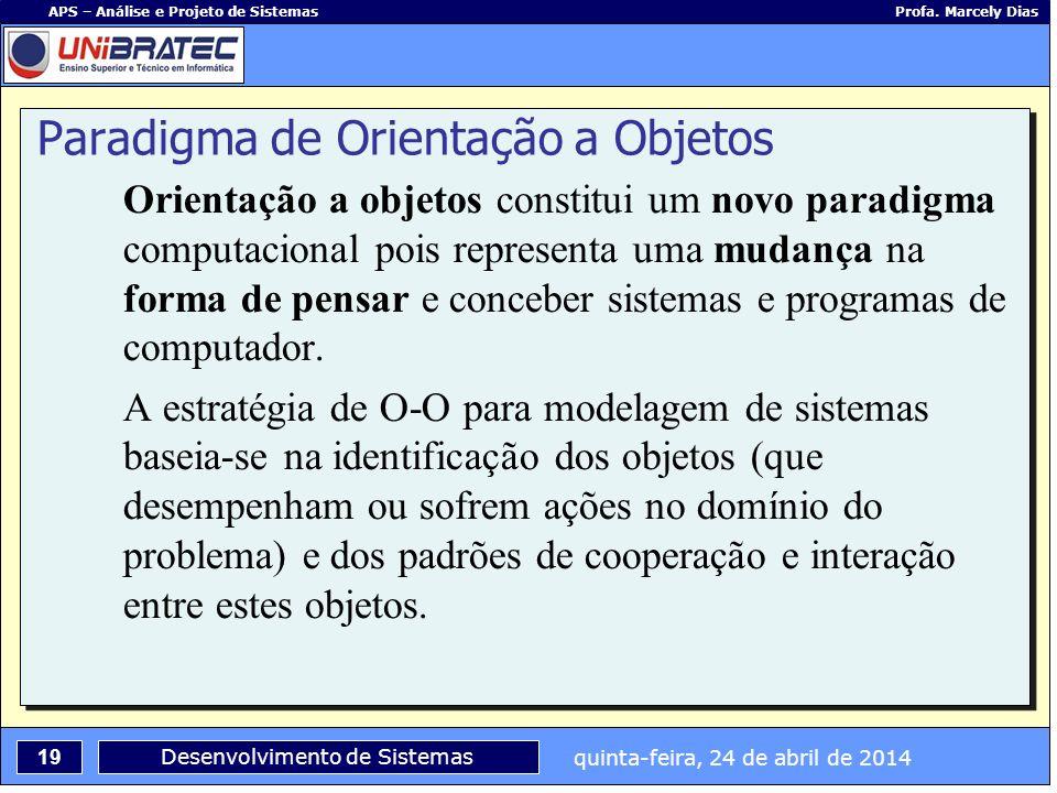 quinta-feira, 24 de abril de 2014 19 APS – Análise e Projeto de Sistemas Profa. Marcely Dias Desenvolvimento de Sistemas Orientação a objetos constitu