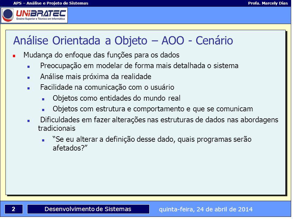 quinta-feira, 24 de abril de 2014 2 APS – Análise e Projeto de Sistemas Profa. Marcely Dias Desenvolvimento de Sistemas Análise Orientada a Objeto – A