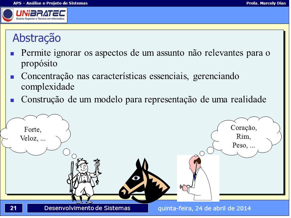 quinta-feira, 24 de abril de 2014 21 APS – Análise e Projeto de Sistemas Profa. Marcely Dias Desenvolvimento de Sistemas Abstração Permite ignorar os
