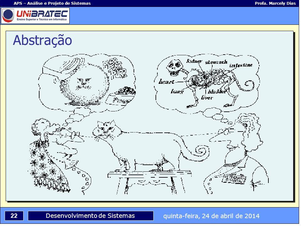 quinta-feira, 24 de abril de 2014 22 APS – Análise e Projeto de Sistemas Profa. Marcely Dias Desenvolvimento de Sistemas Abstração