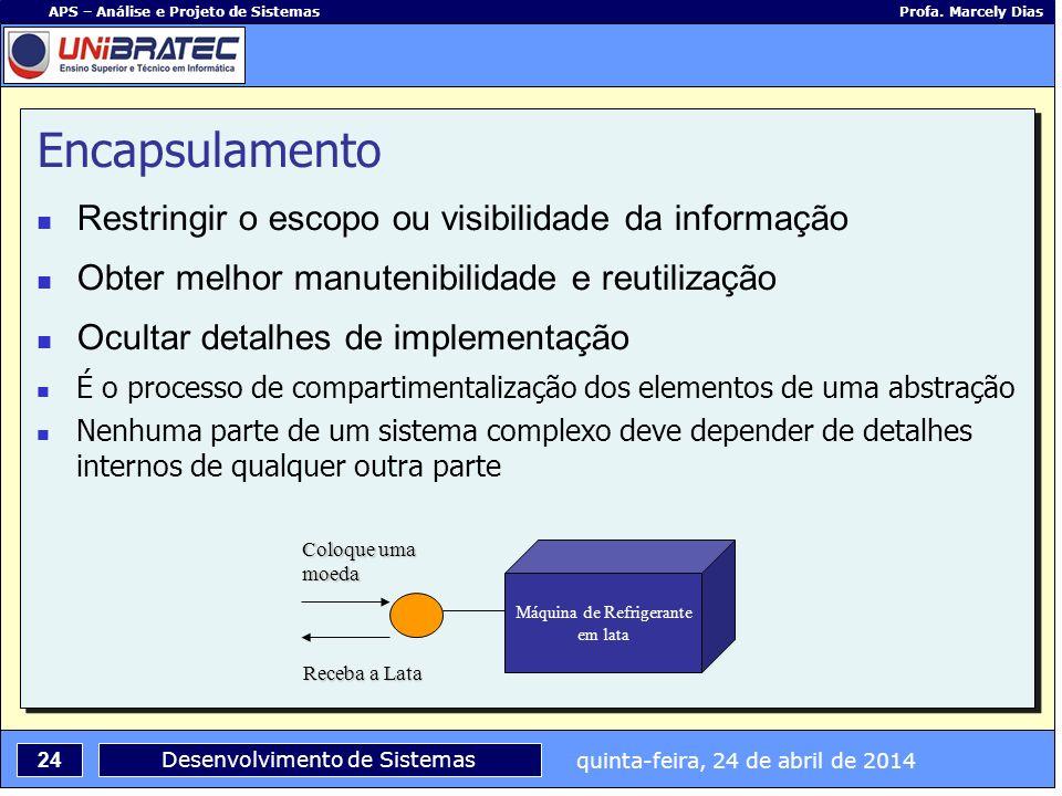 quinta-feira, 24 de abril de 2014 24 APS – Análise e Projeto de Sistemas Profa. Marcely Dias Desenvolvimento de Sistemas Encapsulamento Restringir o e