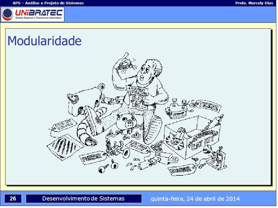 quinta-feira, 24 de abril de 2014 26 APS – Análise e Projeto de Sistemas Profa. Marcely Dias Desenvolvimento de Sistemas Modularidade