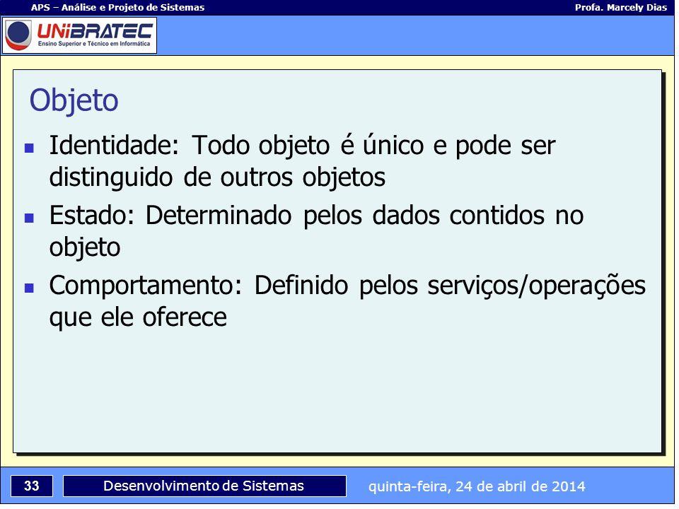 quinta-feira, 24 de abril de 2014 33 APS – Análise e Projeto de Sistemas Profa. Marcely Dias Desenvolvimento de Sistemas Objeto Identidade: Todo objet