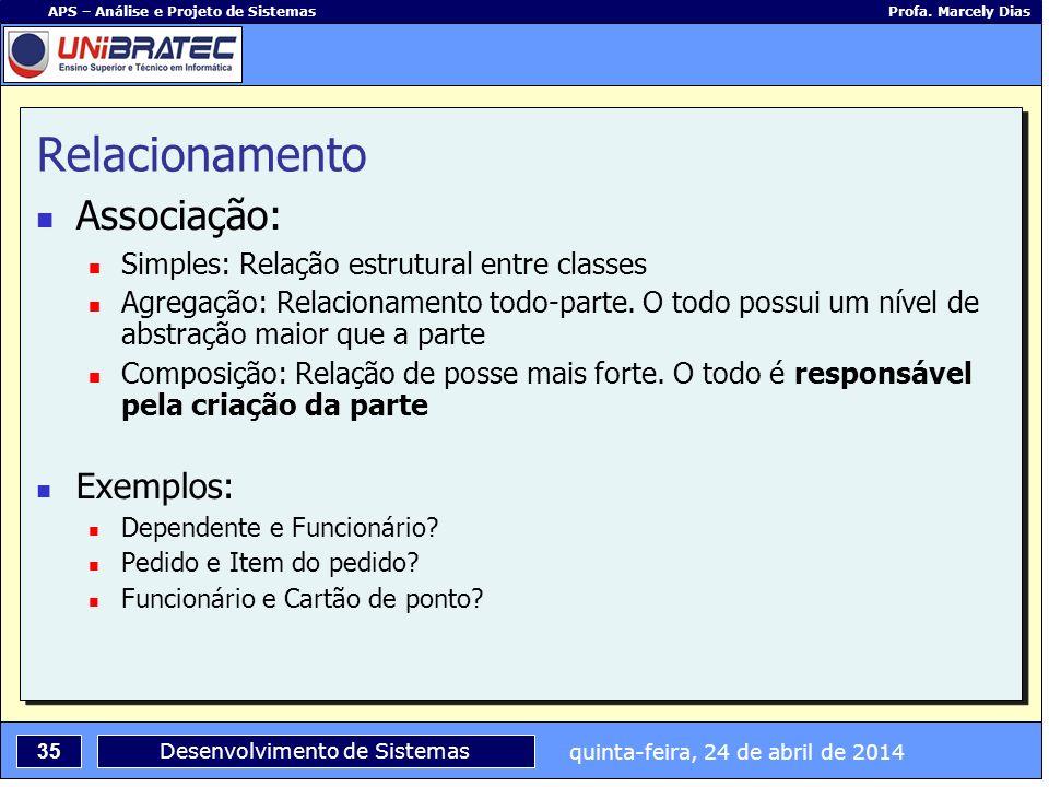 quinta-feira, 24 de abril de 2014 35 APS – Análise e Projeto de Sistemas Profa. Marcely Dias Desenvolvimento de Sistemas Relacionamento Associação: Si