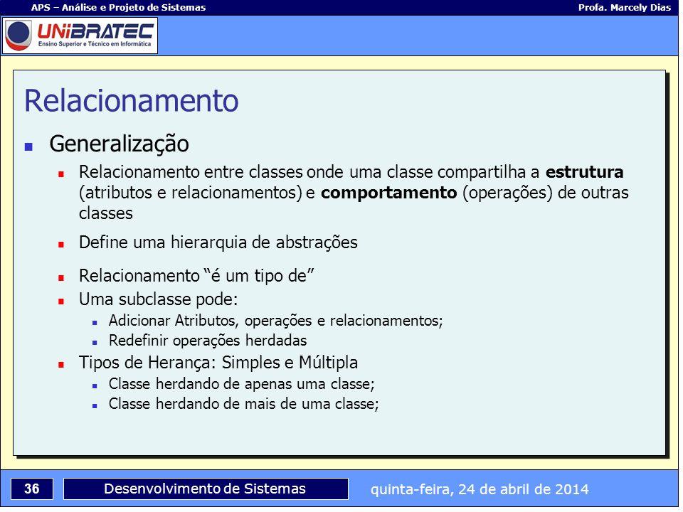 quinta-feira, 24 de abril de 2014 36 APS – Análise e Projeto de Sistemas Profa. Marcely Dias Desenvolvimento de Sistemas Relacionamento Generalização