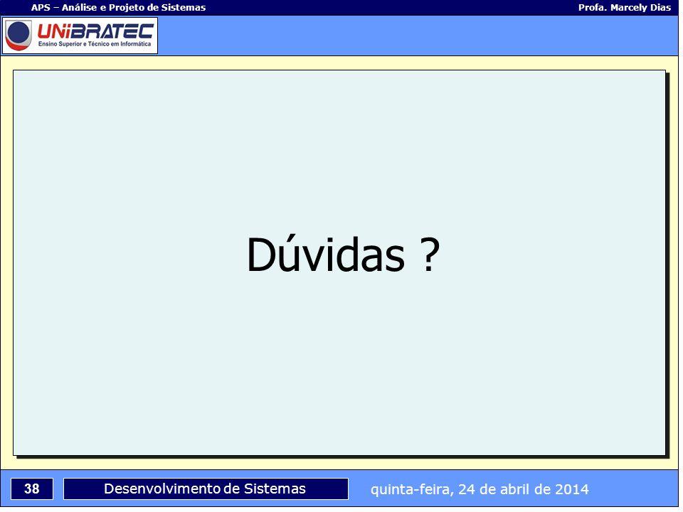 quinta-feira, 24 de abril de 2014 38 APS – Análise e Projeto de Sistemas Profa. Marcely Dias Desenvolvimento de Sistemas Dúvidas ?