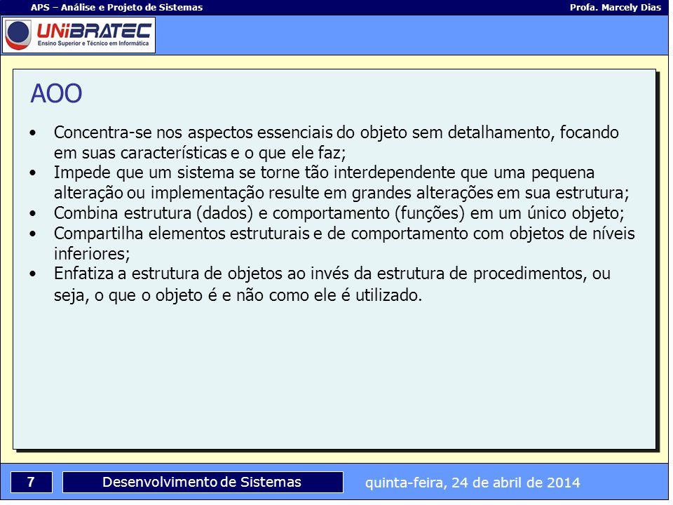quinta-feira, 24 de abril de 2014 7 APS – Análise e Projeto de Sistemas Profa. Marcely Dias Desenvolvimento de Sistemas Concentra-se nos aspectos esse