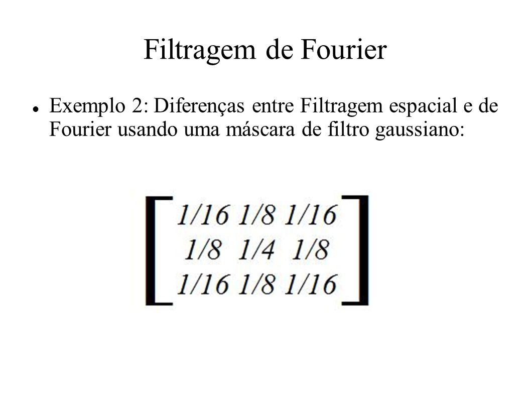 Filtragem de Fourier Exemplo 2: Diferenças entre Filtragem espacial e de Fourier usando uma máscara de filtro gaussiano: