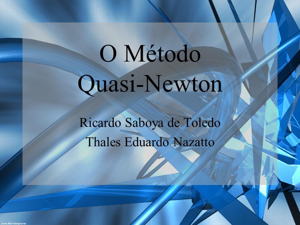 Tópicos O Método de Newton. O Método Quasi-Newton. Algoritmos.