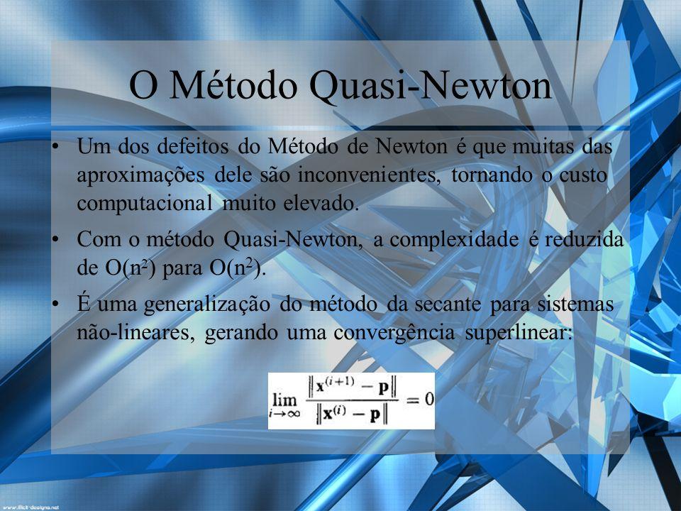 O Método Quasi-Newton É dado pela seguinte fórmula: Nele, a inversa da matriz Hessiana H (dada como B) é atualizada em toda iteração, desde que satisfaça a seguinte equação: O Δx satisfaz a seguinte equação: