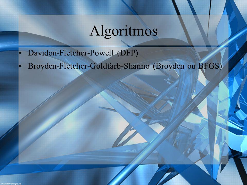 O Algoritmo DFP Um dos mais antigos e inteligentes algoritmos para a geração da Hessiana inversa foi originalmente proposto por Davidon (1959) e posteriormente desenvolvida por Fletcher e Powell (1963).