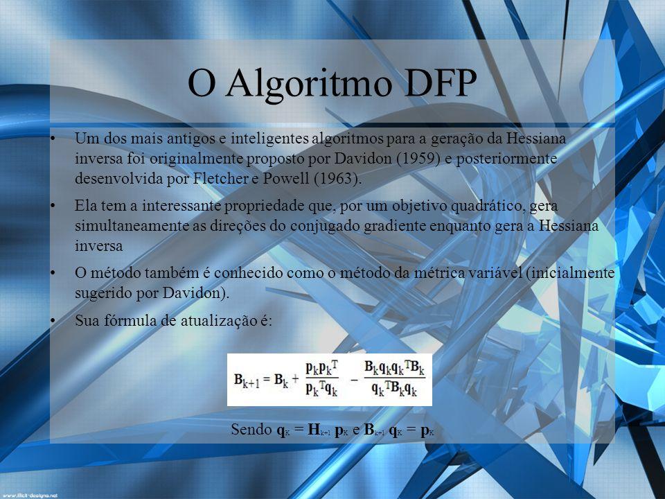 O Algoritmo BFGS A fórmula do BFGS é mais complicada do que a do DFP, mas simples de aplicar.