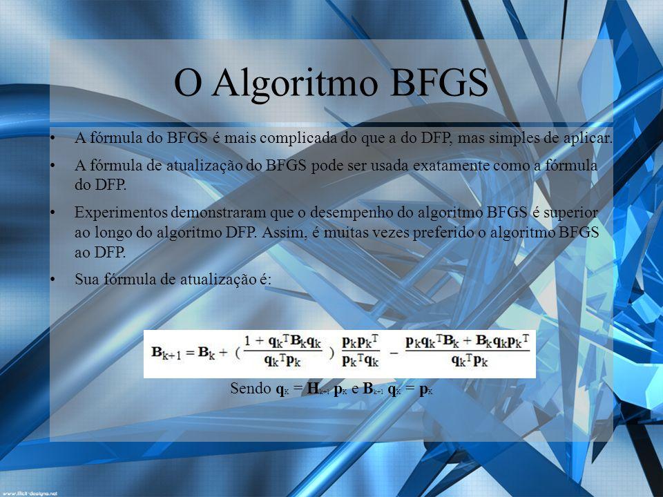 Algoritmos Ambos os métodos têm propriedades que garantem uma rápida taxa de convergência e convergência global sob certas condições.