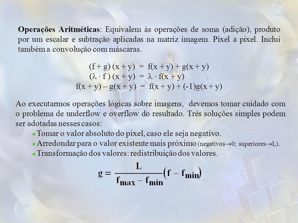Operações Aritméticas: Equivalem às operações de soma (adição), produto por um escalar e subtração aplicadas na matriz imagem. Pixel a pixel. Inclui t