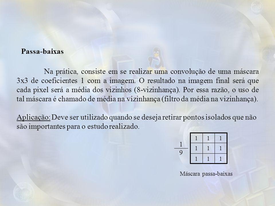 Na prática, consiste em se realizar uma convolução de uma máscara 3x3 de coeficientes 1 com a imagem.