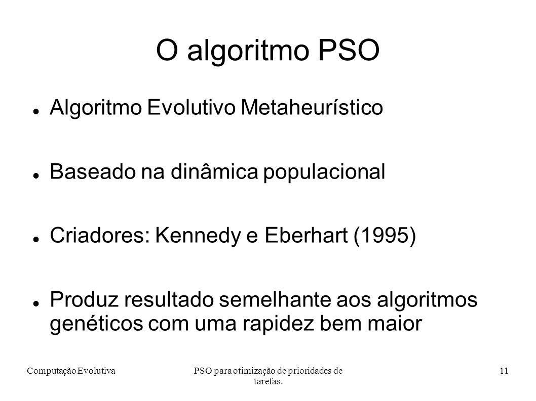 Computação EvolutivaPSO para otimização de prioridades de tarefas.
