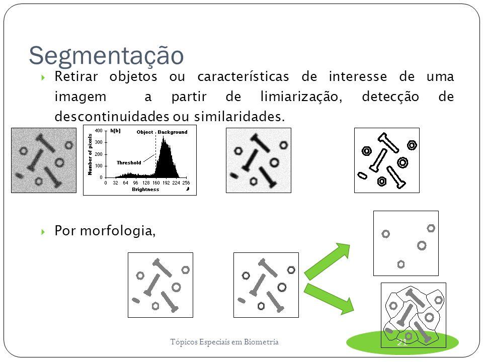 Segmentação Tópicos Especiais em Biometria21 Retirar objetos ou características de interesse de uma imagem a partir de limiarização, detecção de descontinuidades ou similaridades.
