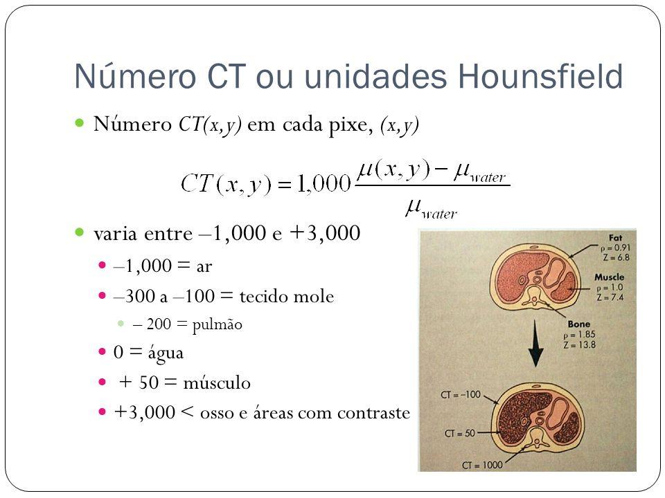 Número CT ou unidades Hounsfield Número CT(x,y) em cada pixe, (x,y) varia entre –1,000 e +3,000 –1,000 = ar –300 a –100 = tecido mole – 200 = pulmão 0 = água + 50 = músculo +3,000 < osso e áreas com contraste