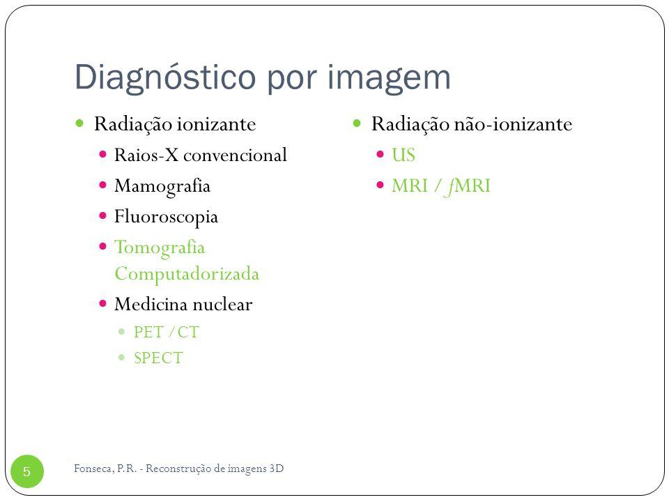 Diagnóstico por imagem Radiação ionizante Raios-X convencional Mamografia Fluoroscopia Tomografia Computadorizada Medicina nuclear PET /CT SPECT Radia