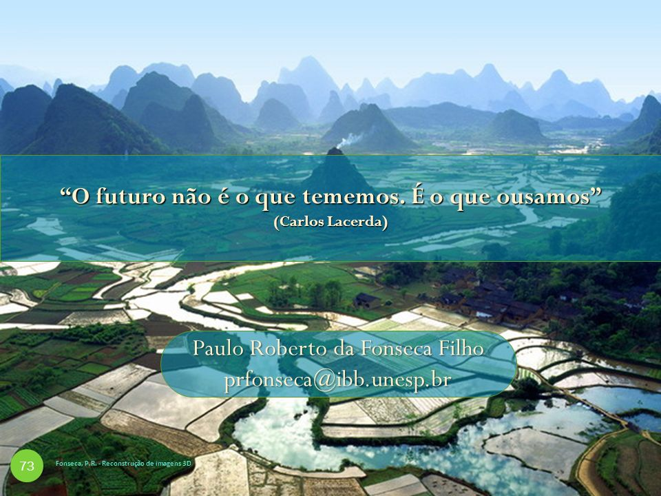 O futuro não é o que tememos. É o que ousamos (Carlos Lacerda) Paulo Roberto da Fonseca Filho prfonseca@ibb.unesp.br 73 Fonseca, P.R. - Reconstrução d
