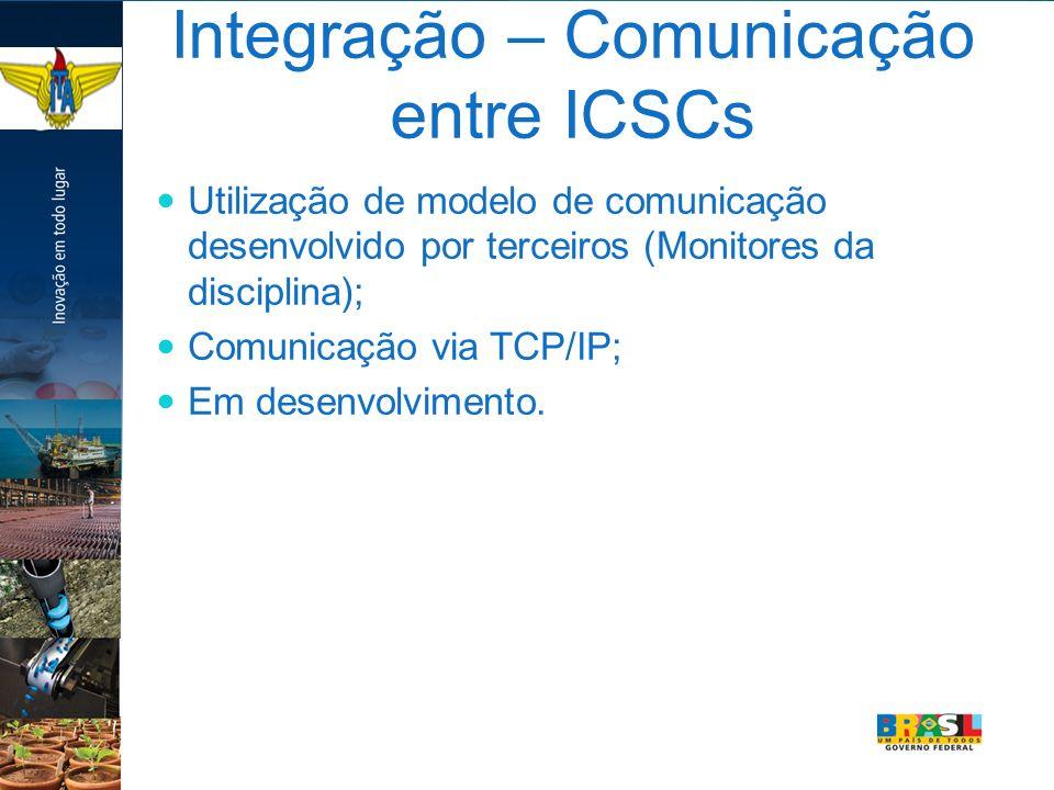 Integração – Comunicação entre ICSCs Utilização de modelo de comunicação desenvolvido por terceiros (Monitores da disciplina); Comunicação via TCP/IP;