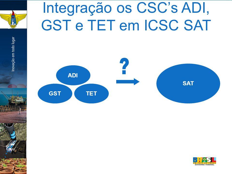 Integração os CSCs ADI, GST e TET em ICSC SAT ADI GSTTET SAT