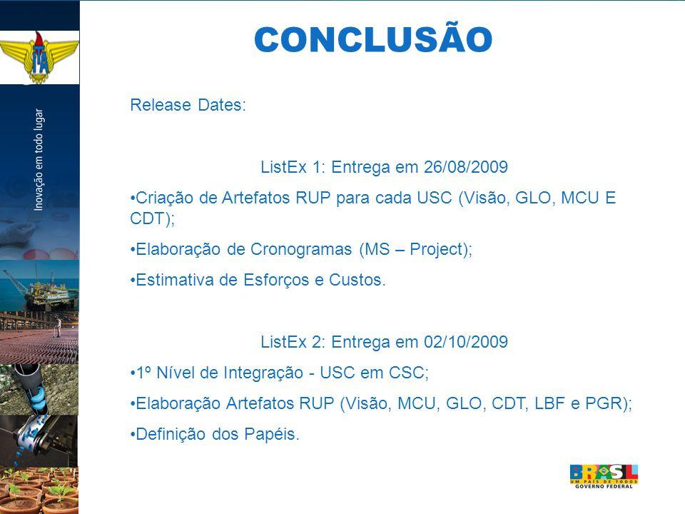 Release Dates: ListEx 1: Entrega em 26/08/2009 Criação de Artefatos RUP para cada USC (Visão, GLO, MCU E CDT); Elaboração de Cronogramas (MS – Project); Estimativa de Esforços e Custos.