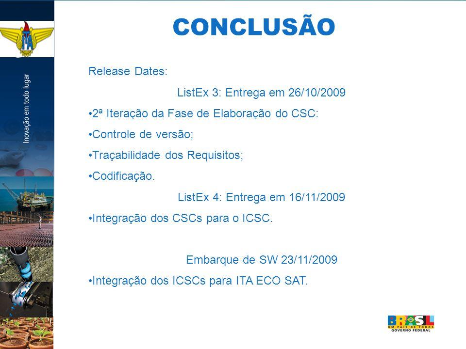 Release Dates: ListEx 3: Entrega em 26/10/2009 2ª Iteração da Fase de Elaboração do CSC: Controle de versão; Traçabilidade dos Requisitos; Codificação.