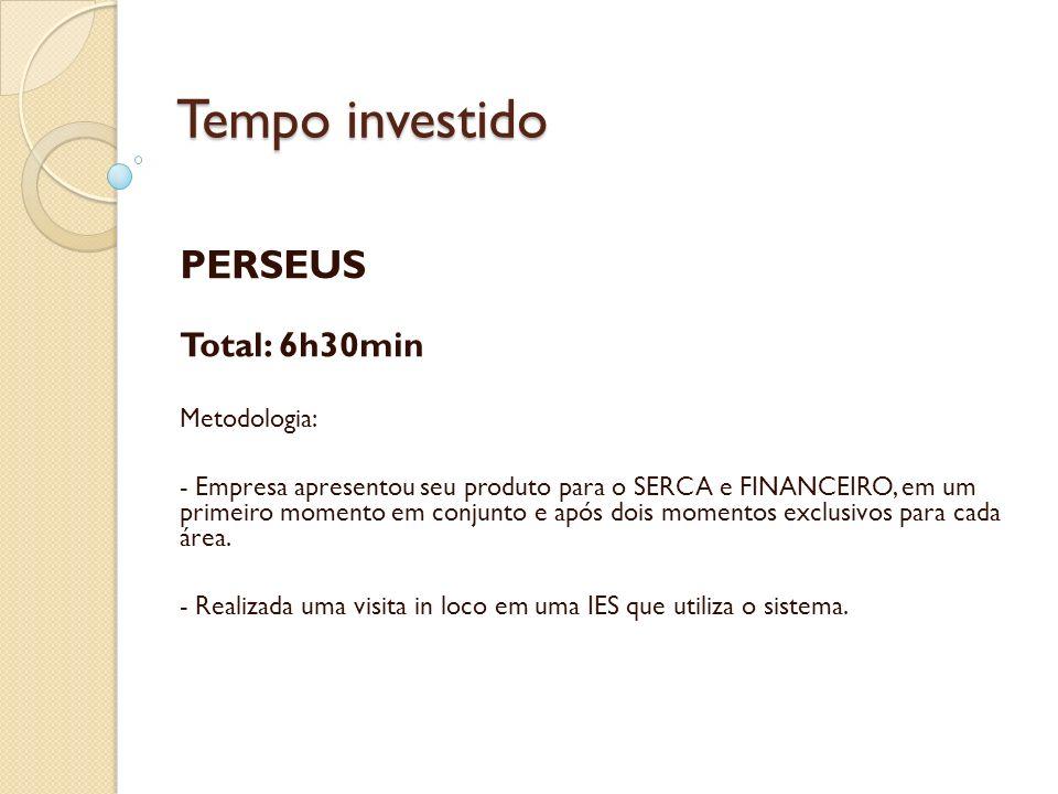 Tempo investido PERSEUS Total: 6h30min Metodologia: - Empresa apresentou seu produto para o SERCA e FINANCEIRO, em um primeiro momento em conjunto e a