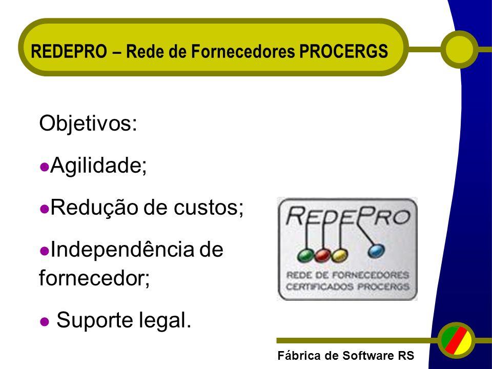 Fábrica de Software RS REDEPRO – Rede de Fornecedores PROCERGS Objetivos: Agilidade; Redução de custos; Independência de fornecedor; Suporte legal.