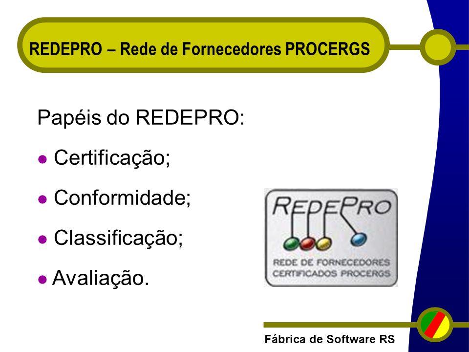Fábrica de Software RS REDEPRO – Rede de Fornecedores PROCERGS Papéis do REDEPRO: Certificação; Conformidade; Classificação; Avaliação.