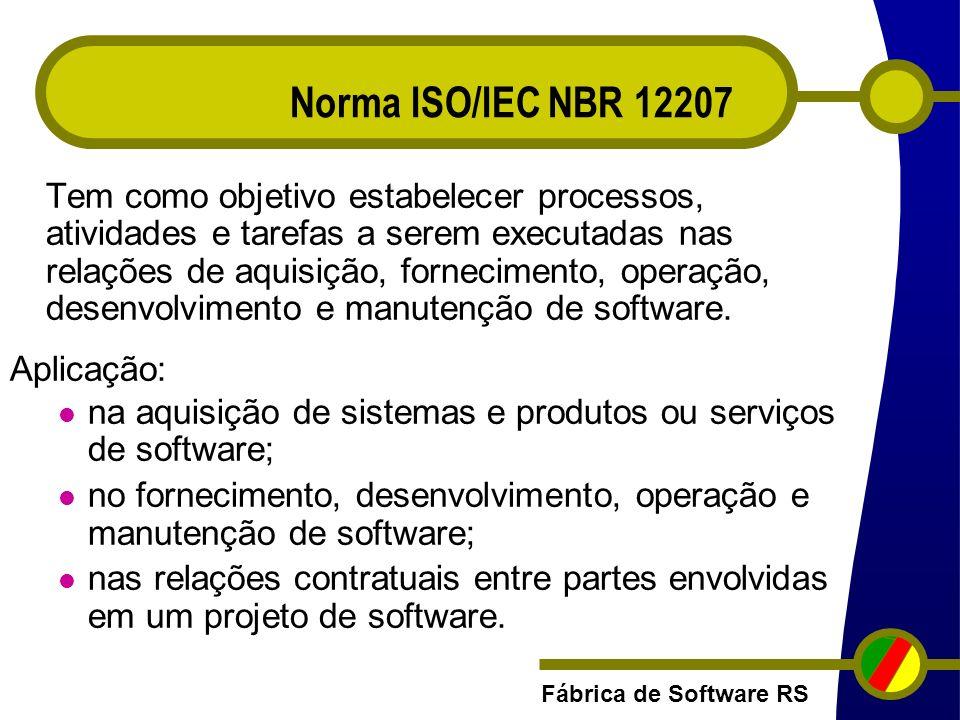 Fábrica de Software RS Tem como objetivo estabelecer processos, atividades e tarefas a serem executadas nas relações de aquisição, fornecimento, opera