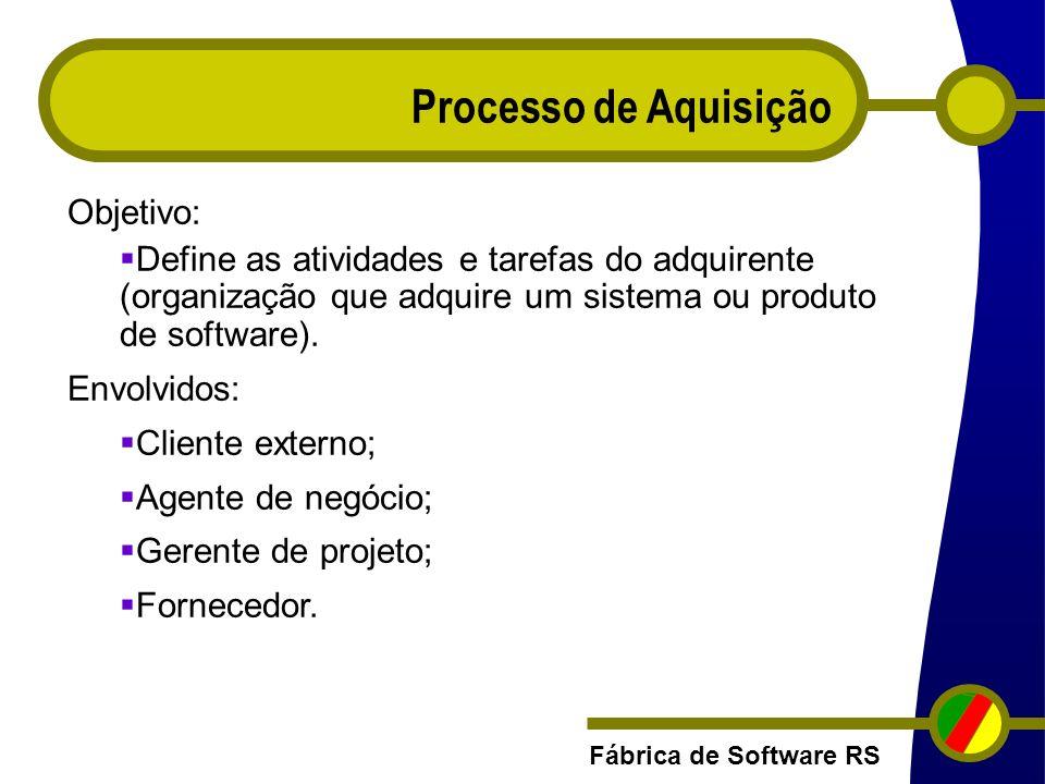 Fábrica de Software RS Processo de Aquisição Objetivo: Define as atividades e tarefas do adquirente (organização que adquire um sistema ou produto de