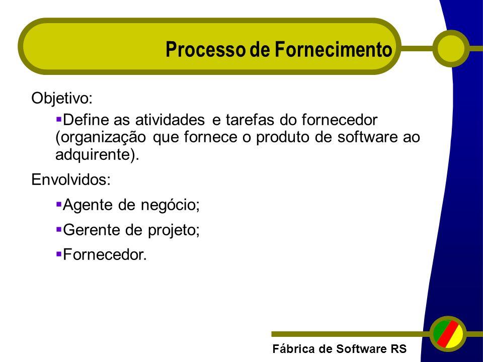 Fábrica de Software RS Processo de Fornecimento Objetivo: Define as atividades e tarefas do fornecedor (organização que fornece o produto de software
