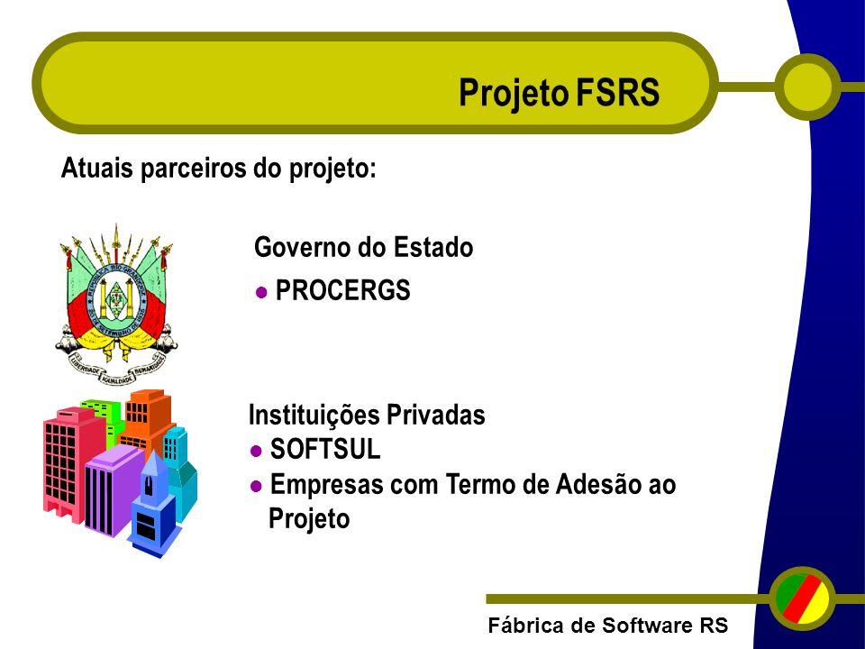 Fábrica de Software RS Projeto FSRS Governo do Estado PROCERGS Atuais parceiros do projeto: Instituições Privadas SOFTSUL Empresas com Termo de Adesão