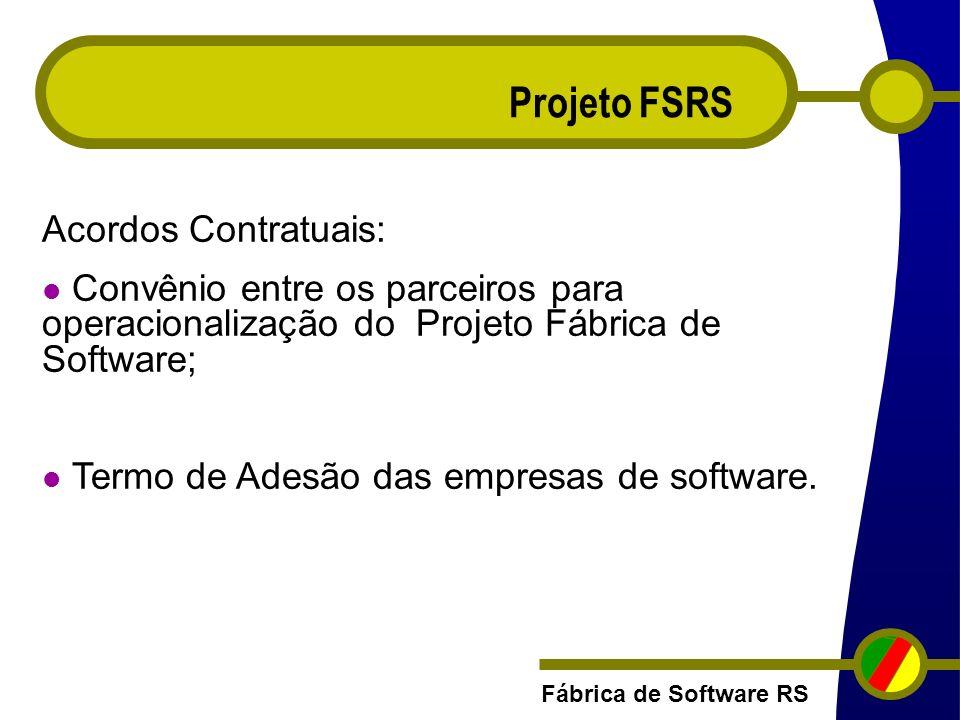 Fábrica de Software RS Projeto FSRS Acordos Contratuais: Convênio entre os parceiros para operacionalização do Projeto Fábrica de Software; Termo de A