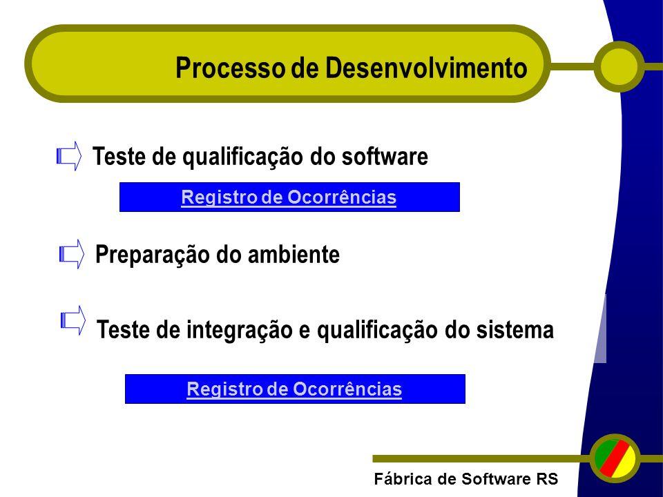 Fábrica de Software RS Processo de Desenvolvimento Registro de Ocorrências Teste de qualificação do software Preparação do ambiente Teste de integraçã