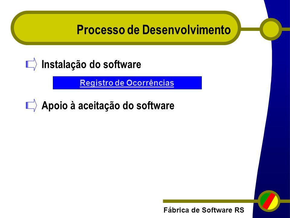 Fábrica de Software RS Processo de Desenvolvimento Instalação do software Apoio à aceitação do software Registro de Ocorrências