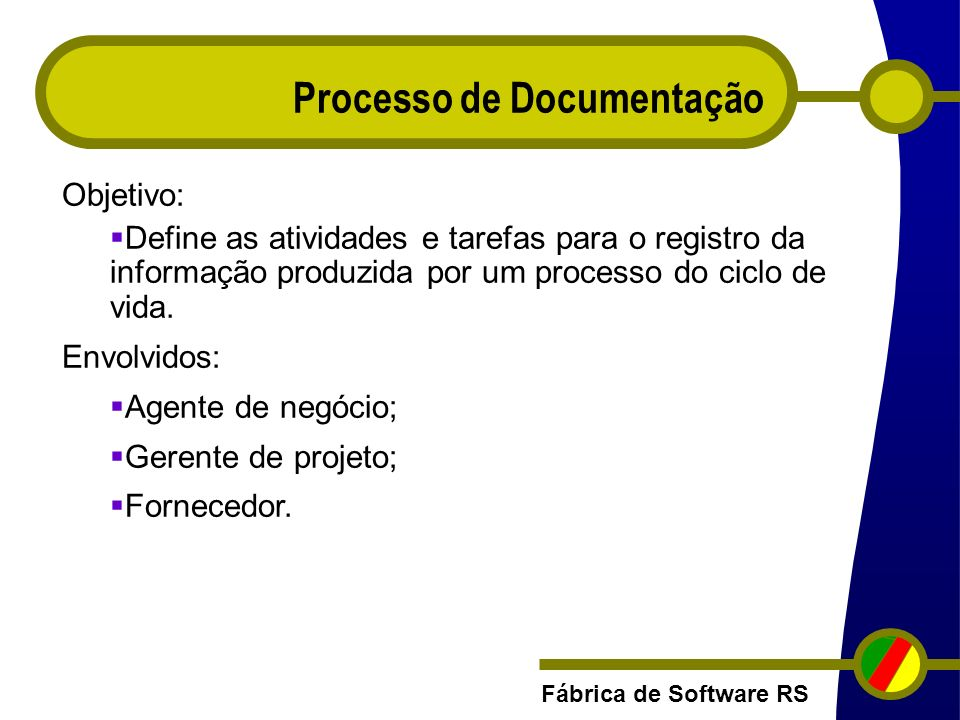 Fábrica de Software RS Processo de Documentação Objetivo: Define as atividades e tarefas para o registro da informação produzida por um processo do ci