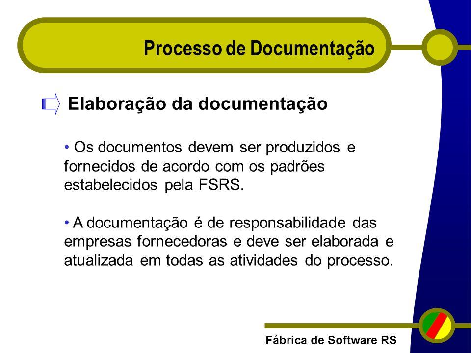Fábrica de Software RS Processo de Documentação Elaboração da documentação Os documentos devem ser produzidos e fornecidos de acordo com os padrões es