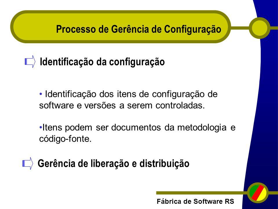 Fábrica de Software RS Processo de Gerência de Configuração Identificação da configuração Identificação dos itens de configuração de software e versõe